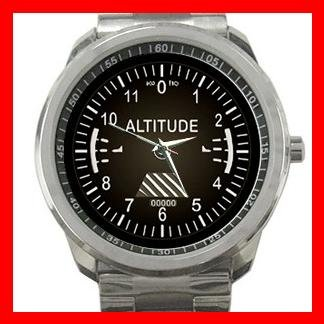 Black Altimeter Altitude Photo Silvertone Sports Metal Watch 107
