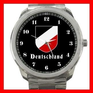 German Tricolor Shield Silvertone Sports Metal Watch 110