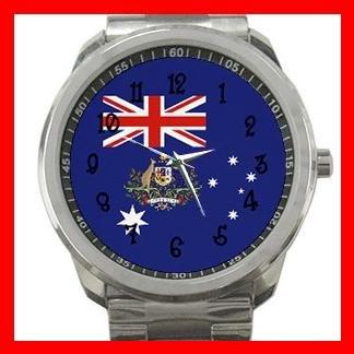 Australia Flag Nation Patriotic Silvertone Sports Metal Watch 111