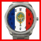 French Flag France Nation Patriotic Silvertone Sports Metal Watch 113