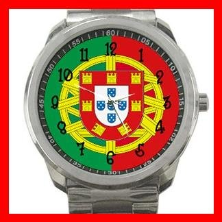 Portugal Flag Nation Patriotic Silvertone Sports Metal Watch 116