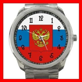Russian Flag Russia Nation Patriotic Silvertone Sports Metal Watch 117