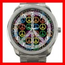 Colorful Peace Signs Silvertone Sports Metal Watch 120