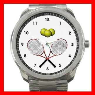 Tennis Racques Crossed Game Silvertone Sports Metal Watch 122