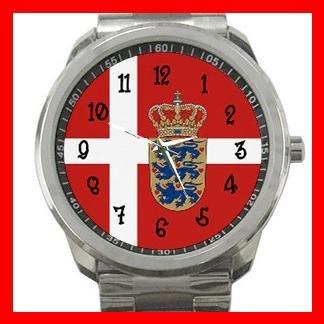 Danish Flag Nation Patriotic Silvertone Sports Metal Watch 124