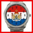 Netherlands Flag Nation Silvertone Sports Metal Watch 126