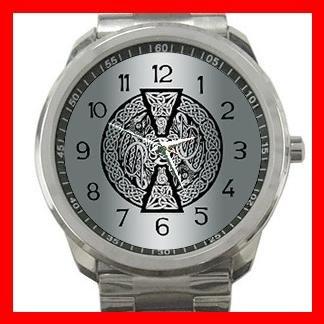 Celtic Dragons Mythical Symbol Silvertone Sports Metal Watch 127