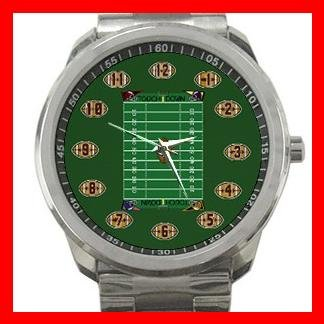 US Football Sports Game Silvertone Sports Metal Watch 133
