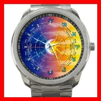 Zodiac Signs Moon and Sun Hobby Silvertone Sports Metal Watch 134