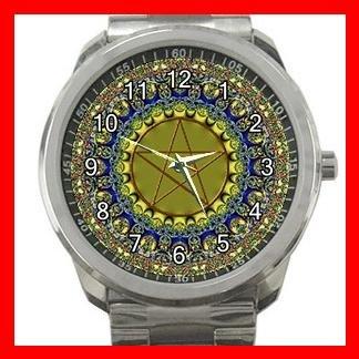 Wicca Psychedic Pagan Pentacle Silvertone Sports Metal Watch 135