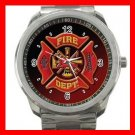 Red Firefighter Fire Fighter Rescue  Silvertone Sports Metal Watch 136