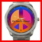 Colorful Time For Peace Sign Silvertone Sports Metal Watch 139