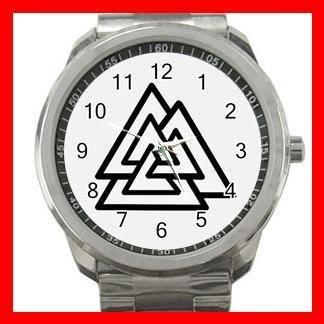 Valknot Valknut Symbol Triangles Silvertone Sports Metal Watch 140