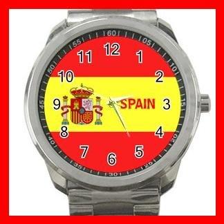 Spain Flag Nation Patriotic Silvertone Sports Metal Watch 142