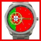 Portugal Flag Portuguese Nation Patriotic Silvertone Sports Metal Watch 143