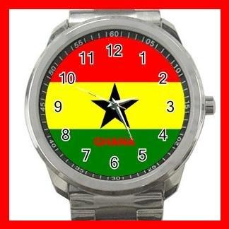 Ghana Flag Nation Patriotic Silvertone Sports Metal Watch 144