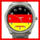 German Flag Nation Patriotic Silvertone Sports Metal Watch 146