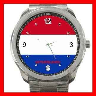 Netherlands Flag Nation Patriotic Silvertone Sports Metal Watch 147