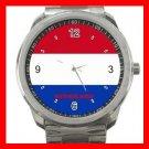 Netherlands Flag Nation Patriotic Silvertone Sports Metal Watch 147