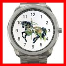 Black Carousel Horse Peacock Fun Silvertone Sports Metal Watch 155