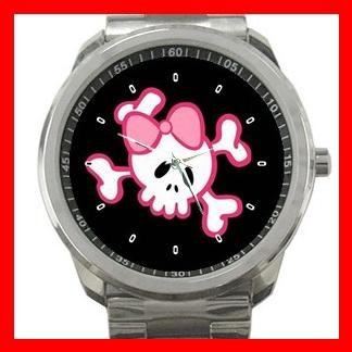 PINK GIRLY SKULL SKELECTON FUN Silvertone Sports Metal Watch 156