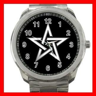 Wicca Pentagram Pentacle Star Witch Silvertone Sports Metal Watch 160