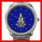 Blue Masonic Past Master Silvertone Sports Metal Watch 163