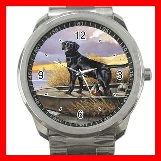 BLACK LABRADOR RETRIEVER DOGS PET Silvertone Sports Metal Watch 170