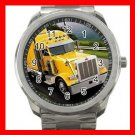 YELLOW PETERBILT TRUCK Silvertone Sports Metal Watch 171