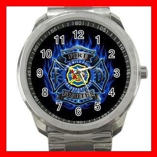 Blue Fire Fighter FireFighter Silvertone Sports Metal Watch 173