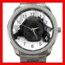 BLACK PUG PET DOG ANIMALS Silvertone Sports Metal Watch 192