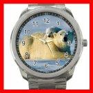 POLAR BEAR CUB & MOTHER ANIMALS Silvertone Sports Metal Watch 194