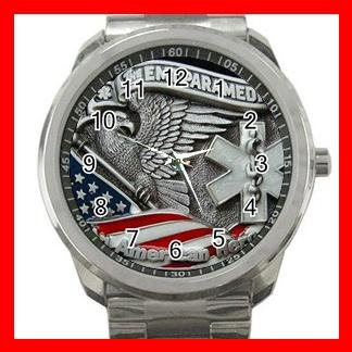 EMT PARAMEDIC AN AMERICAN HERO Silvertone Sports Metal Watch 203