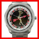 Lady Roulette Casino Game Fun Silvertone Sports Metal Watch 206