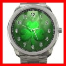 Irish Shamrock St Patricks Clover Silvertone Sports Metal Watch 210