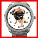 Cute Pug Puppy Pet Dog Silvertone Sports Metal Watch 241