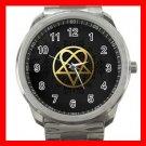 Gold Heartagram Love Silvertone Sports Metal Watch 244