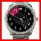 Kiss Me Love Hearts Silvertone Sports Metal Watch 245