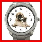 Pug Mom and Baby Puppy Pet Dogs Silvertone Sports Metal Watch 251