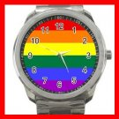GAY LESBIEN PRIDE FLAG COLOR Silvertone Sports Metal Watch 260
