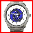 BLUE WICCA PENTACLE Silvertone Sports Metal Watch 263