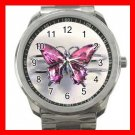 Pink Butterfly Fly Hobby Silvertone Sports Metal Watch 264