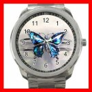 Blue Butterfly Fly Hobby Silvertone Sports Metal Watch 265