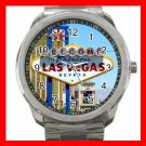 Welcome Las Vegas Silvertone Sports Metal Watch 269