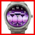 Purple Wine Glass Hobby Silvertone Sports Metal Watch 279
