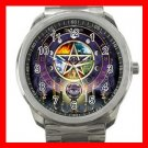 Wicca Pentagram Pentacle Silvertone Sports Metal Watch 281