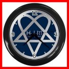 HIM Blue Heartagram Darklight Decor Wall Clock-Black 047