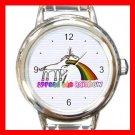 Unicorn Vomiting Rainbow Fantasy Round Italian Charm Wrist Watch 650