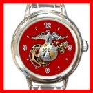 US Marine Corps USMC Army Round Italian Charm Wrist Watch 652
