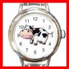 Country Cow Moo Round Italian Charm Wrist Watch 656